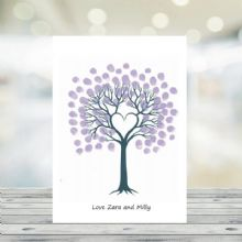 Set of 5 A5 Personalised Fingerprint Tree Cards - Personalised With Your Text - Available With a Choice of Inkpad Colours